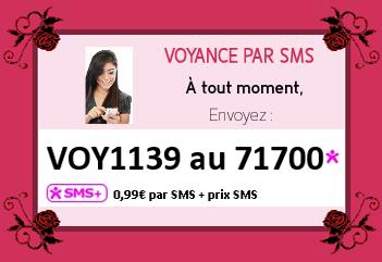 Voyance pas SMS à tout moment envoyez : VOY1139 au 71700 - 0.99 € par SMS + prix SMS